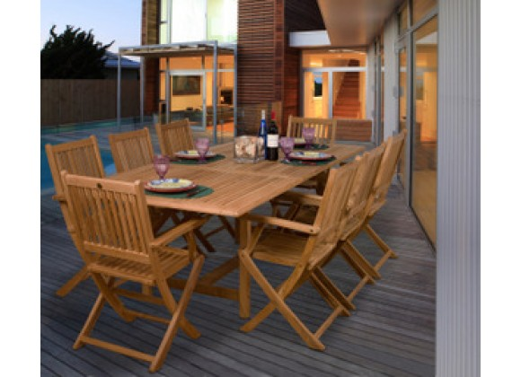 International Home Miami Amazonia Teak Hamburg 9-pc Teak Dining Set