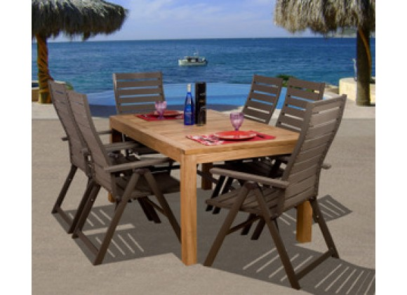 International Home Miami Amazonia Teak Helsinki 7-pc Teak/ Faux Wood Dining Set