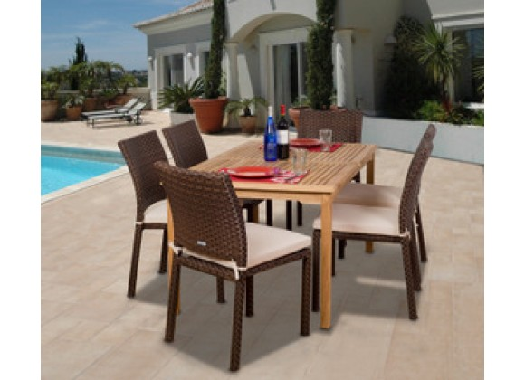 International Home Miami Amazonia Teak Luxemburg 7-pc Teak/Wicker Dining Set