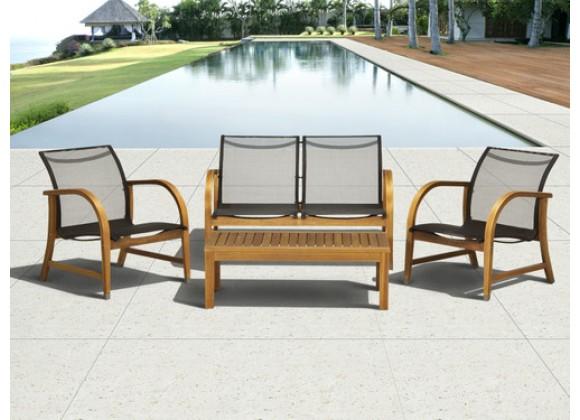 International Home Miami Amazonia Manhattan Eucalyptus 4 piece Patio Deep Seating Set