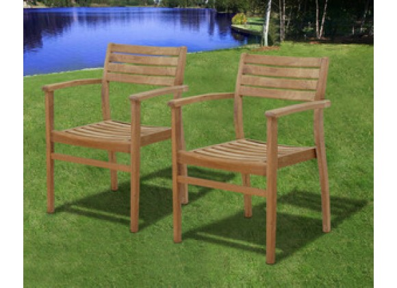 International Home Miami Amazonia Teak Coventry Teak Stacking Chairs