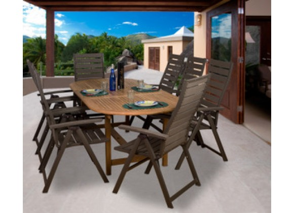 International Home Miami Amazonia Teak San Marino 9-pc Teak/Faux Wood Dining Set