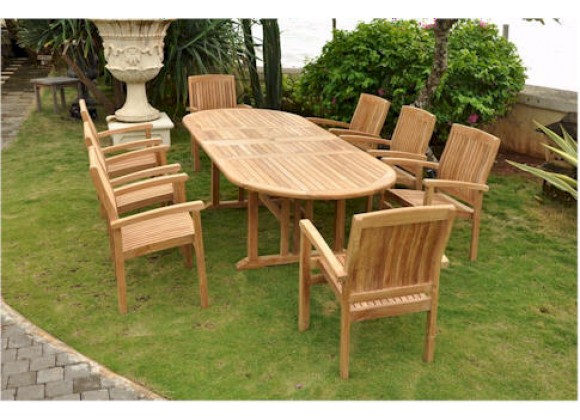 Anderson Teak Sahara 9-Piece Stackable Armchair and Oval Double Extension Outdoor Dining Set