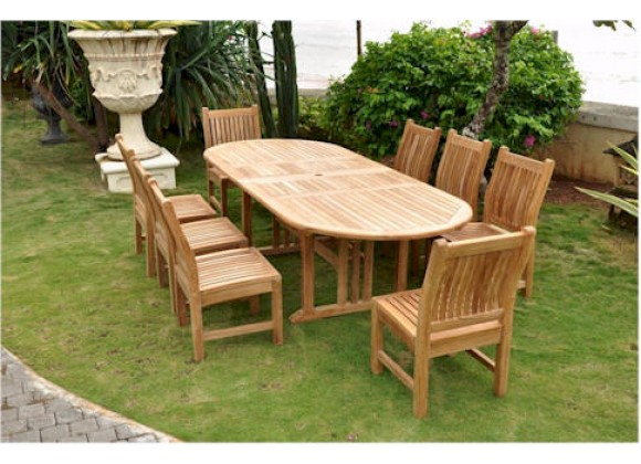 Anderson Teak Sahara 9-Piece Dining Chair and Oval Double Extension Outdoor Dining Set