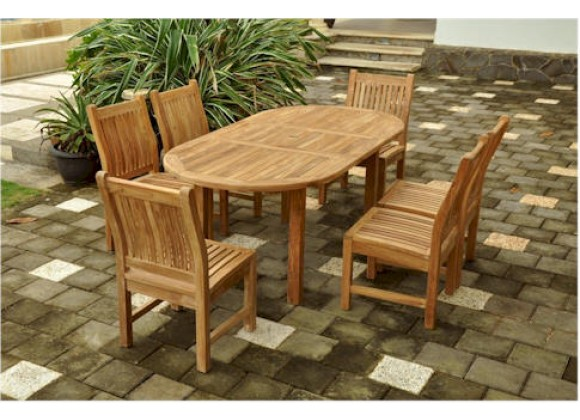 """Anderson Teak Sahara 7-Piece Dining Chair and Bahama Oval 79"""" Exension Outdoor Dining Set"""