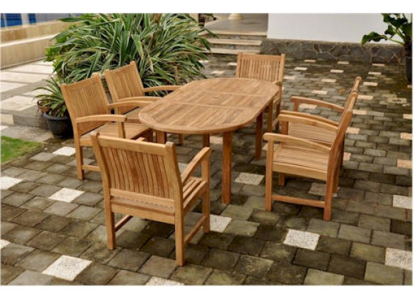 """Anderson Teak Sahara 7-Piece Stackable Armchair and Bahama Oval 79"""" Extension Outdoor Dining Set"""