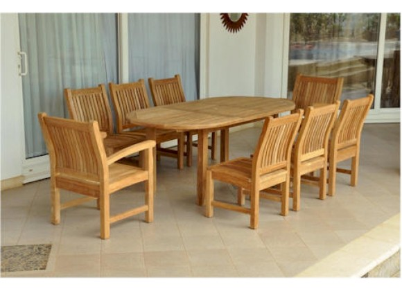 """Anderson Teak Sahara 7-Piece Chairs and Bahama Oval 79"""" Ext. Outdoor Dining Set"""