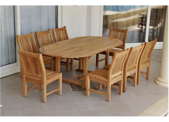 """Anderson Teak Sahara 9-Piece Dining Chair and Bahama Oval 87"""" Ext. Outdoor Dining Set"""