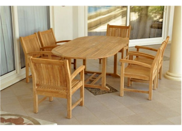 "Anderson Teak Sahara 7-Piece Dining Armchair and Bahama Oval 87"" Ext. Outdoor Dining Set"
