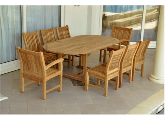 """Anderson Teak Sahara 9-Piece Chairs and Bahama Oval 87"""" Ext. Outdoor Dining Set"""
