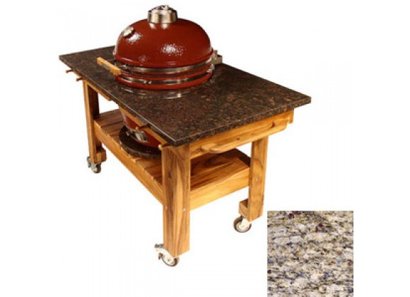 Fireside America Acacia Cart with Amber Cloudburst Granite Top and Riser