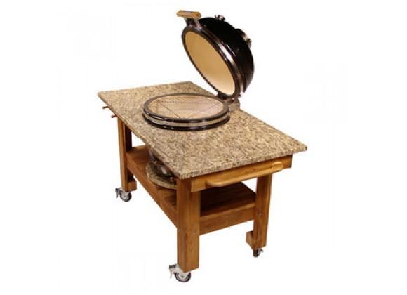 Fireside America Teak Cart with Amber Cloudburst Granite Top And Riser