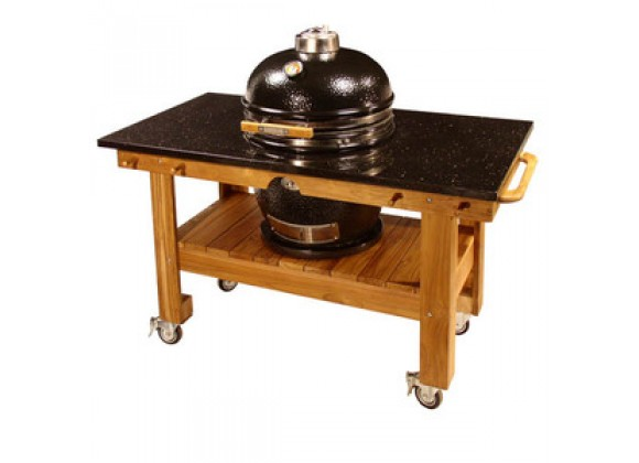 Fireside America Teak Cart with Black Galaxy Granite Top And Riser
