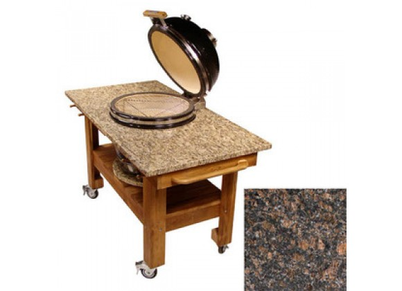 Fireside America Teak Cart with Red Midnight Granite Top And Riser