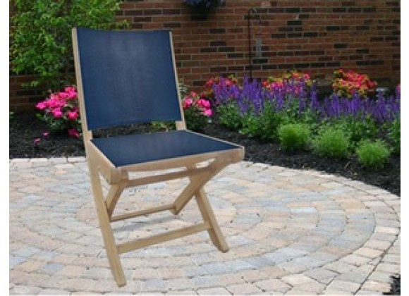 Royal Teak SailMate Folding Chair Black Sling - Armless