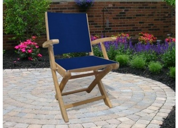Royal Teak SailMate Folding Arm Chair - Navy  Sling