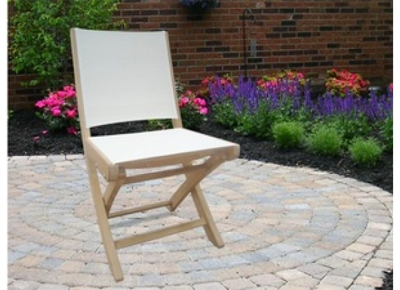 Royal Teak SailMate Folding Chair White Sling - Armless