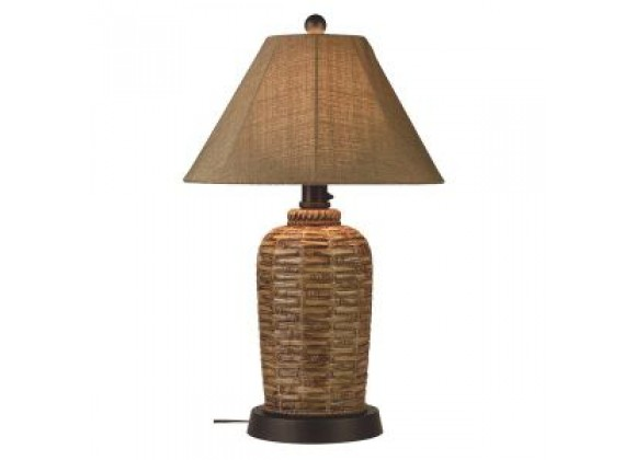 "Patio Concepts South Pacific 33"" Outdoor Table Lamp with Sesame Sunbrella Shade"