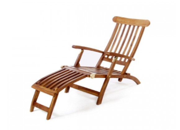 All Things Cedar 5 Position Java Teak Steamer Patio Chaise Arm Chair