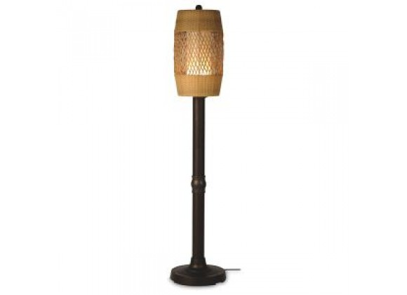 "Patio Concepts Tonga 58""/70"" Floor Lamp with 2""/3"" in Weave Antique Honey  Wicker Barrel Shade"