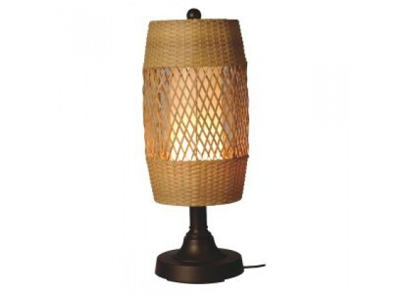 "Patio Concepts Tonga 30"" Table Lamp with 2"" in Weave Antique Honey Wicker Barrel Shade"
