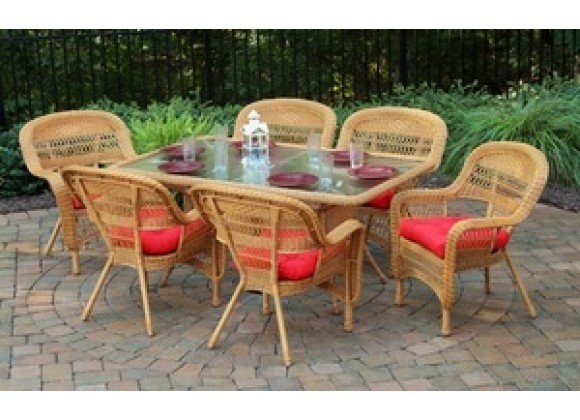 Tortuga Outdoor Portside 7 Piece Dining Set (Southwest Amber)
