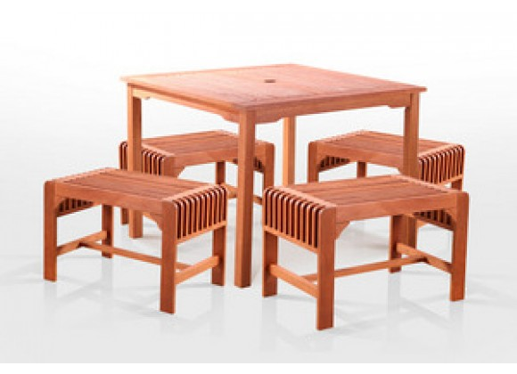 "Vifah  5-Pc Single Seat Backless Bench Dining Set, 35"" x 35"""