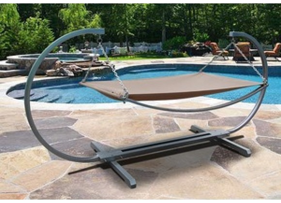 Vifah Modern Outdoor Steel Stand and Polyester Hammock Bed Set
