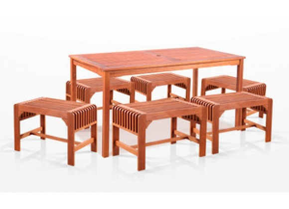 Vifah  7-Piece Dining Set with Rectangular Table and Backless Benches