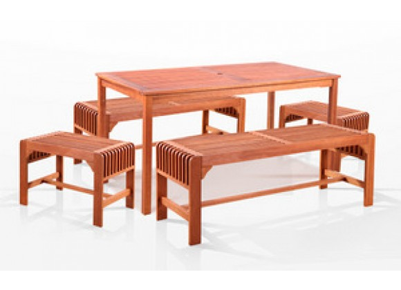 """Vifah  5-Piece Two Set Backless Bench Dining Set, 59"""" x 32"""""""