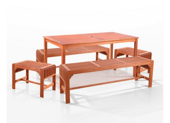 "Vifah   5-Pc Three Seat Backless Bench Dining Set, 59"" x 32"""