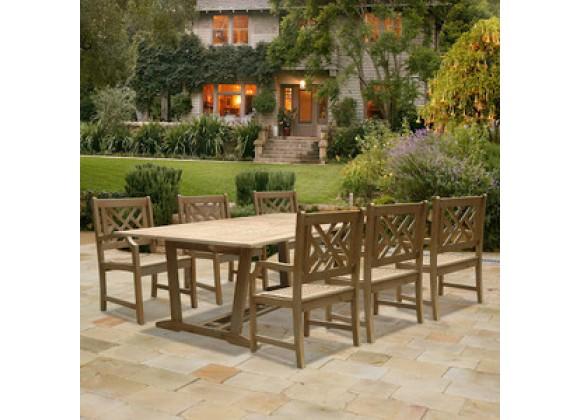 Vifah Modern Patio Renaissance Rectangular Extension Table and Armchair Outdoor Hand-scraped Hardwood Dining Set