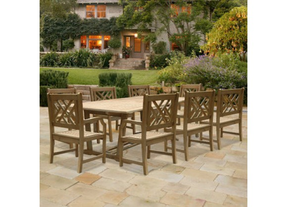 Vifah Modern Patio Renaissance Rectangular Extension Table and Armchair Outdoor Hand-scraped Hardwood Dining Set
