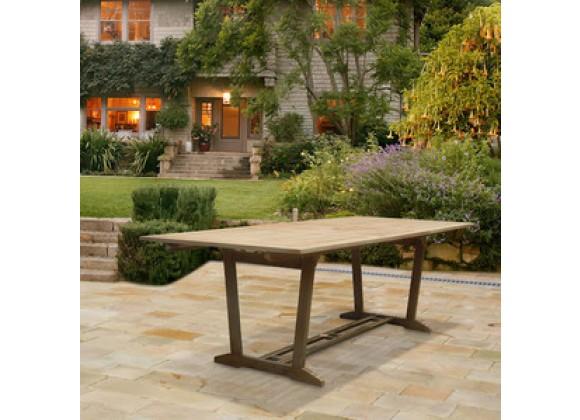 Vifah Modern Patio Renaissance Outdoor Hand-scraped Hardwood Rectangular Extension Dining Table