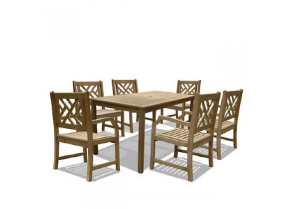 Vifah Modern Patio  Renaissance Rectangular Table & Armchair Outdoor Hand-scraped Hardwood Dining Set