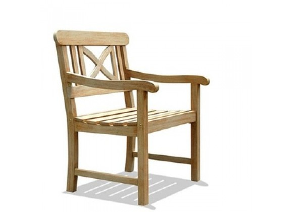 Vifah Modern Patio Renaissance Outdoor Hand-scraped Hardwood Armchair