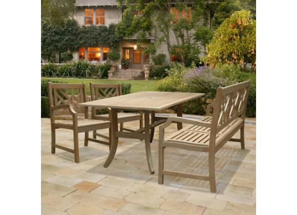 Vifah Modern Patio Renaissance Rectangular Table - Bench- Armchair Outdoor Hand-scraped Hardwood Dining Set