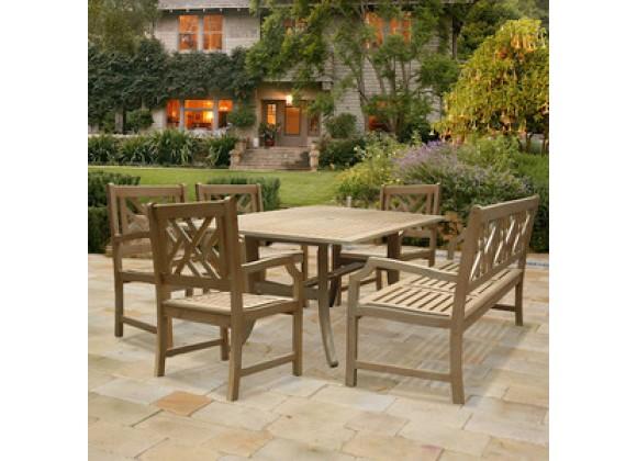 Vifah Modern Patio Renaissance Rectangular Table and Armchair Outdoor Hand-scraped Hardwood Dining Set