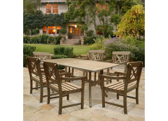 Vifah Modern Patio Renaissance Rectangular Table and Armchair Outdoor Hand-scraped Hardwood Dining Set