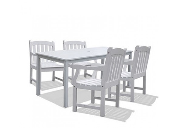 Vifah Modern Patio Bradley Rectangular Extension Table & Armchair Outdoor Wood Dining Set