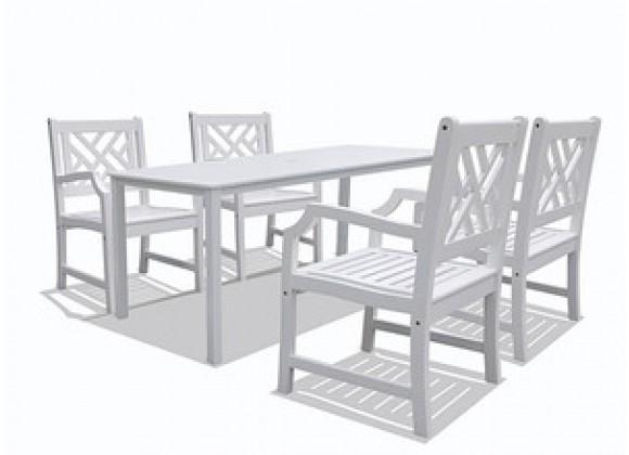 Vifah Modern Patio Bradley Rectangular Extension Table & Armchair Outdoor Wood Dining Set