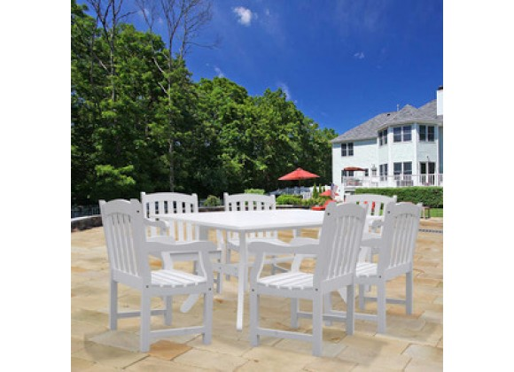 Vifah Modern Patio Bradley Rectangular Extension Table and Armchair Outdoor Wood Dining Set