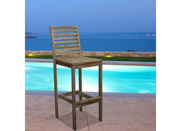 Vifah Modern Patio Bradley Outdoor Wood Bar Chair
