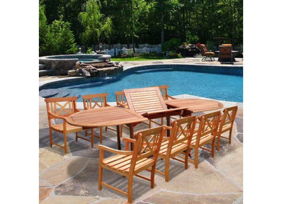 Vifah Oval Extension Table & Wood Armchair Outdoor Dining Set