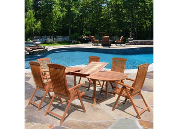Vifah Oval Extension Table & Wood Folding Armchair Outdoor Dining Set