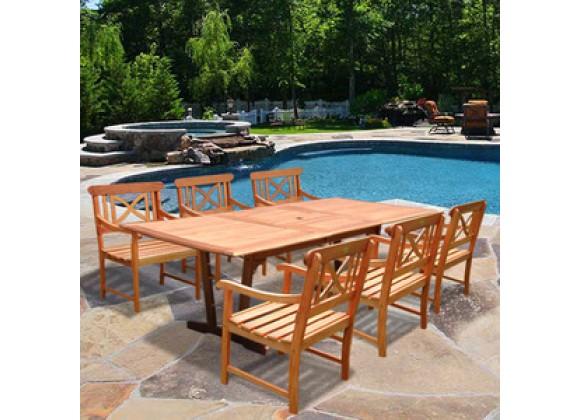 Vifah Rectangular Extension Table & Wood Armchair Outdoor Dining Set
