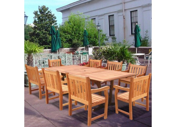 Vifah Rectangular Extension Table & Wood Armchair Outdoor Dining Set