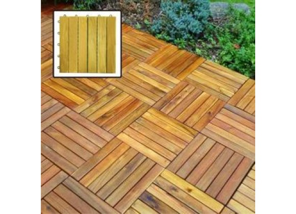 Vifah Modern Patio 6 Slat Interlocking Deck Tiles
