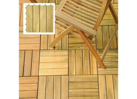 Vifah Modern Patio Interlocking Acacia Plantation Hardwood Deck Tile 4-Slat Style