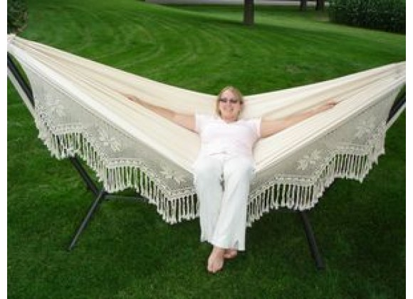 Vivere Brazilian Style Hammock - Double Deluxe in Natural Fabric